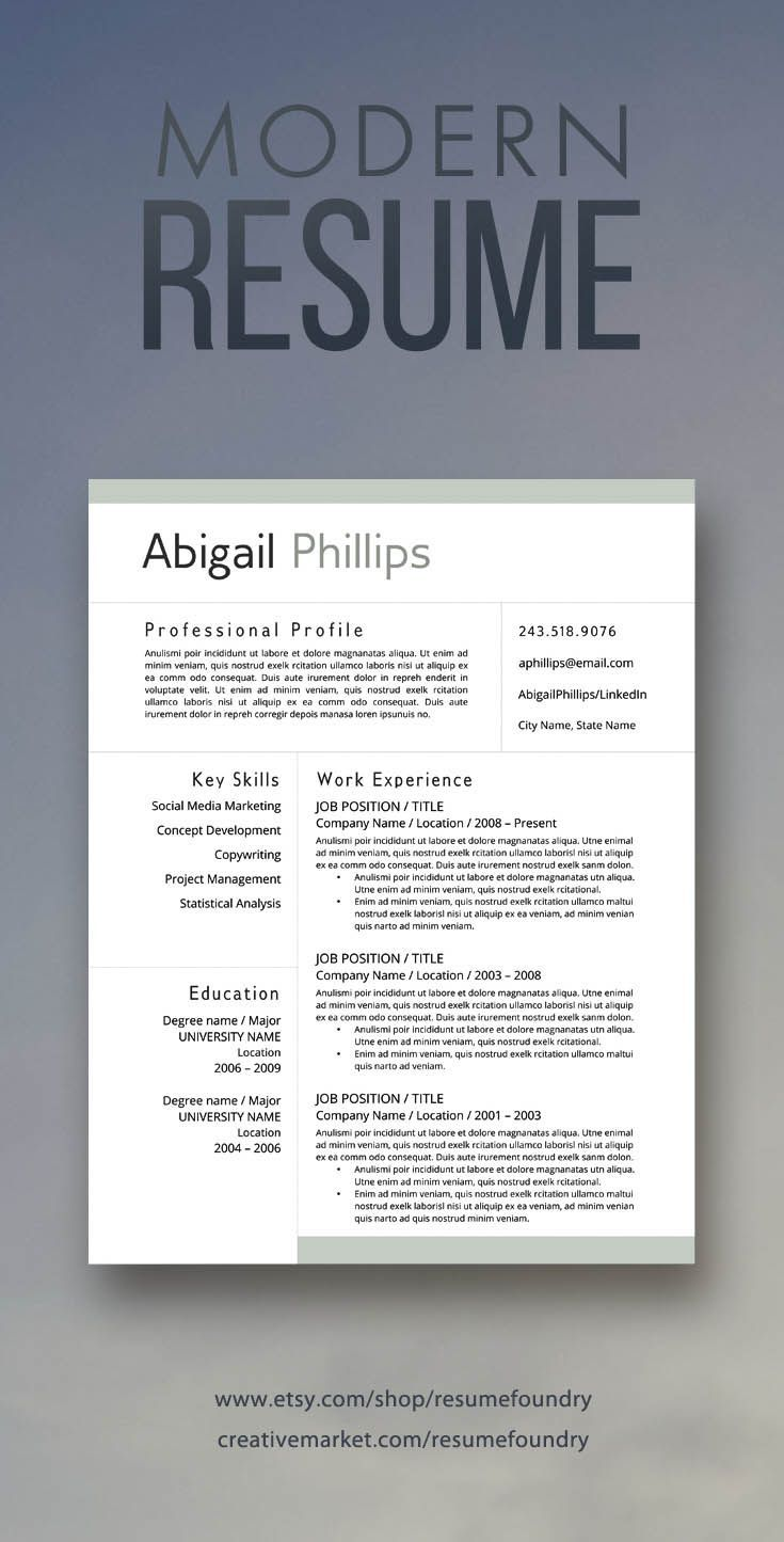 resume design modern resume for sale on etsy download today and