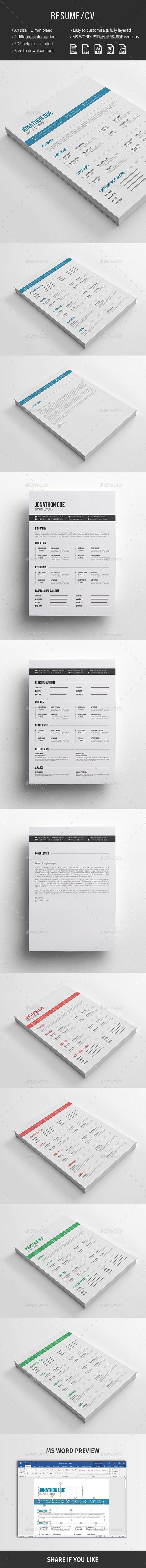 Resume Templates Clean Resume Curriculum Vitae Cv Design