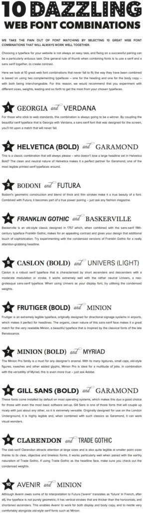Resume Templates & Design : 10 Great Web Font Combinations - Resumes ...