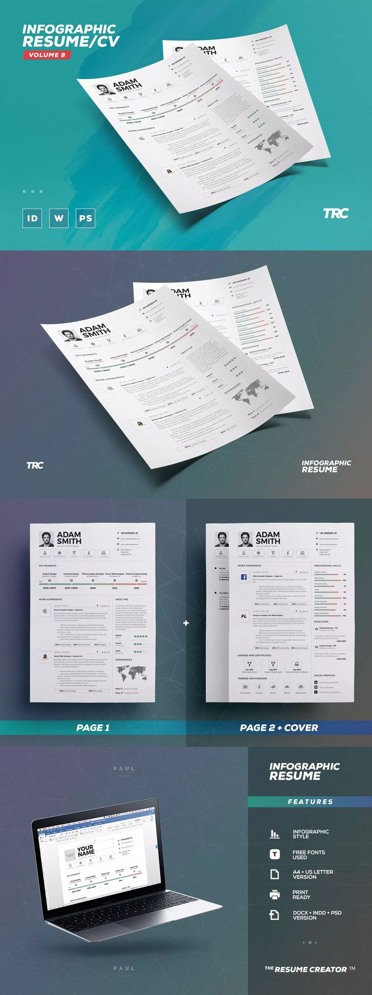 resume templates infographic resume cv template indd psd ms word