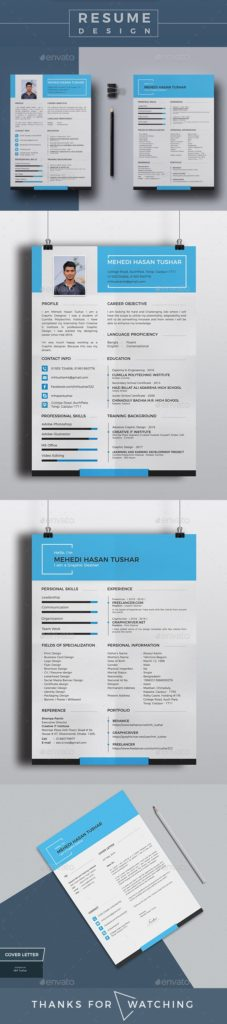 Resume Templates : Personal Resume & Cover Letter Design Template ...
