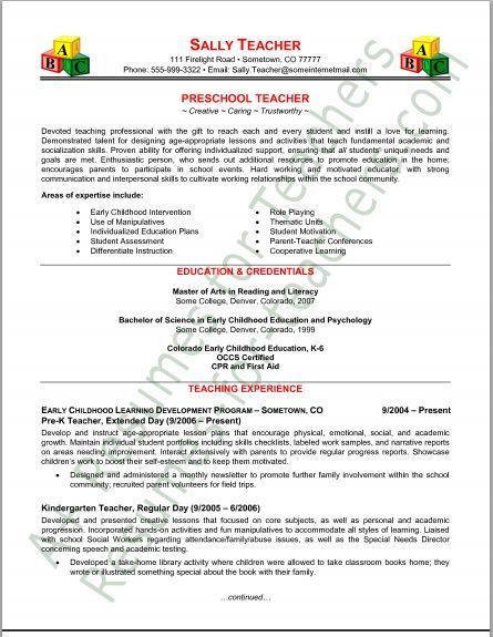 Resume Tips : Preschool Teacher Resume Tips and Samples - Resumes.tn ...