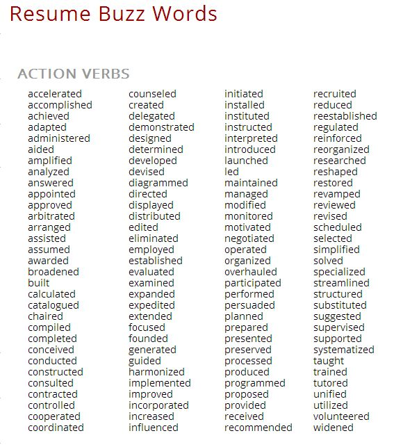 Resume Tips Buzzwords