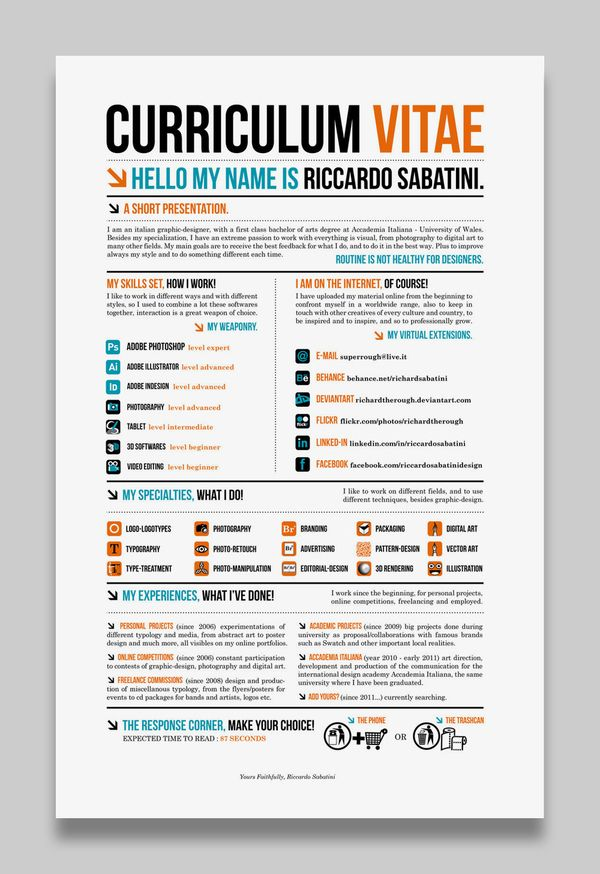 Resume Infographic Creative Cv Resume Examples 12a