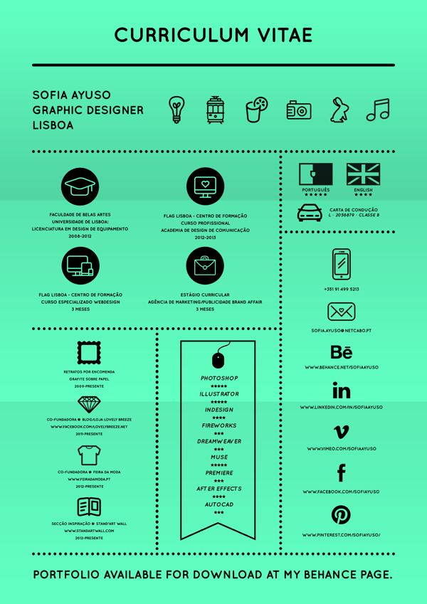 Curriculum Vitae By Sofia Ayuso Via Behance