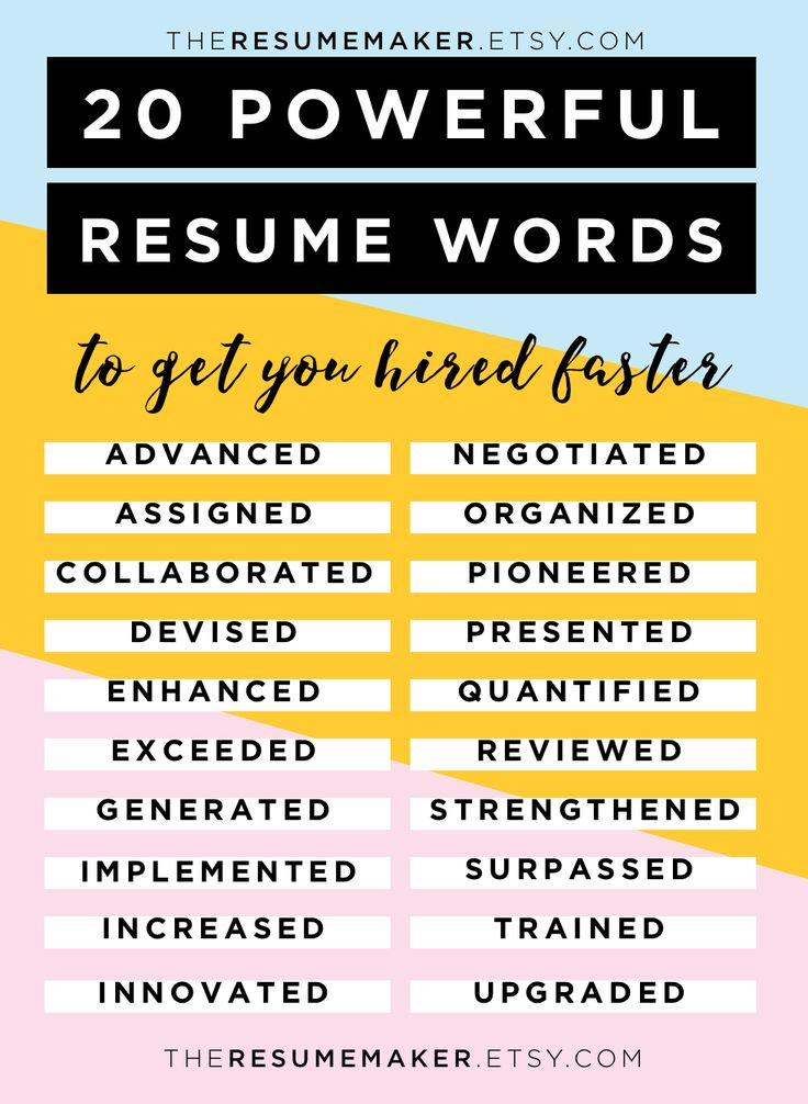 words for a resumes