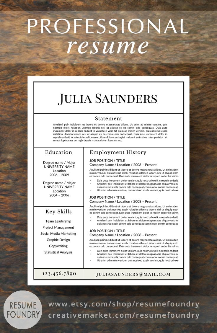 Resume Design : Professional Resume Template for Word ...