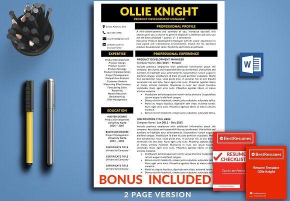 resume templates design resume template cv template bonus
