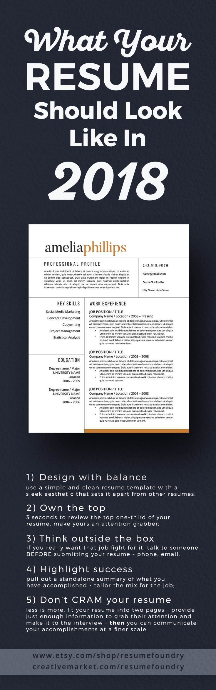 Resume Design : 5 tips to transform your resume to 2018. Check out ...