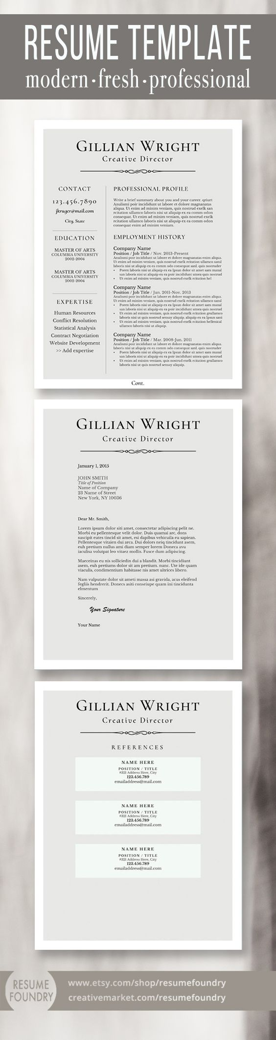 Resume Design Elegant Resume Template Package Includes One Two
