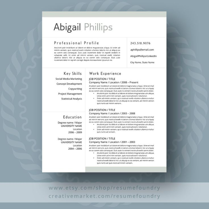 Resume Design Simply Stylish Resume Template From Etsy