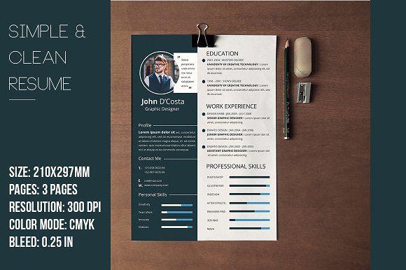 Resume Templates Design Simple Clean Resume Cv Creativework247 - Cv-clean-resume