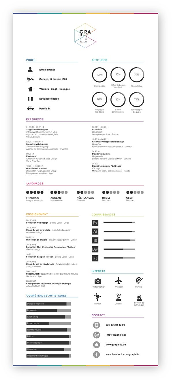 Curriculum Vitae Graphilie By Emilie Brandt On Behance