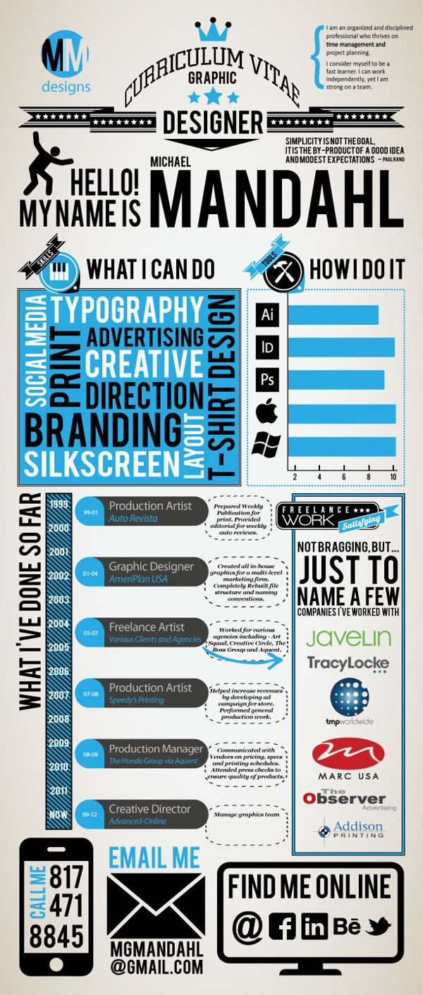 Resume Infographic Examples Of Creative Graphic Design
