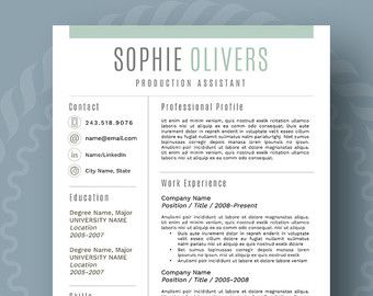 Resume Design Modern Resume Template For Word 1 3 Page Resume