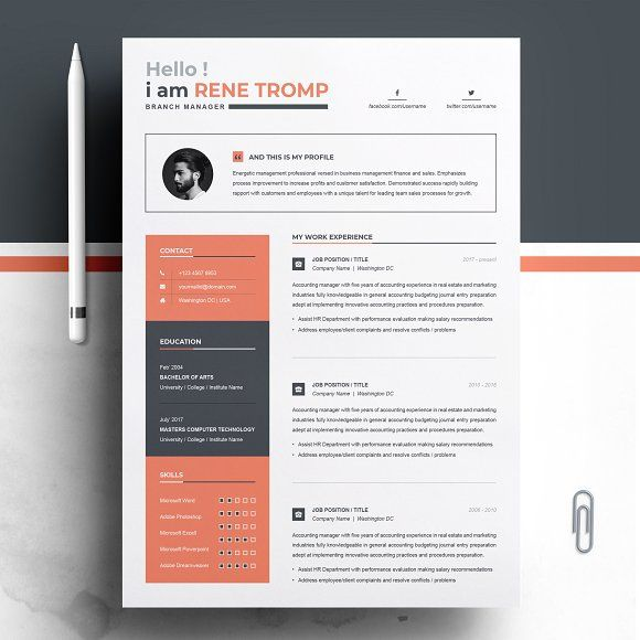 Resume Templates Design 1 Page Professional Template