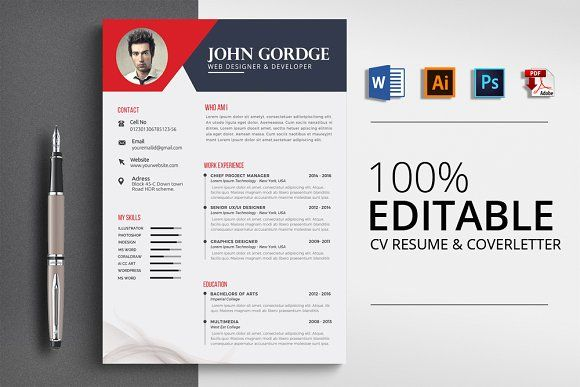 Resume Templates Design CV Template Word File
