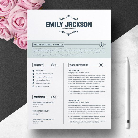 Resume Templates & Design : CV Template With Cover Letter ...