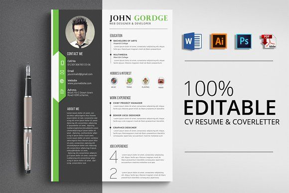 Resume Templates & Design : CV Word Resume Template CreativeWork247 ...