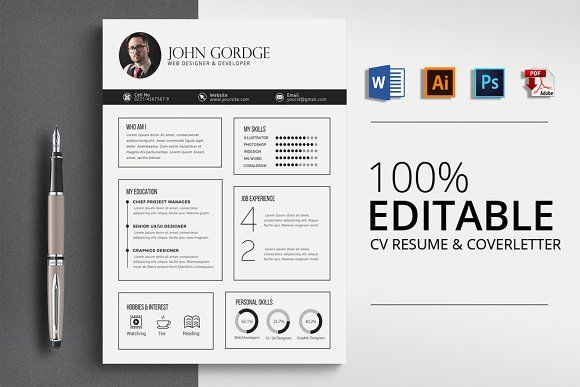 resume templates design clean professional cv word templet