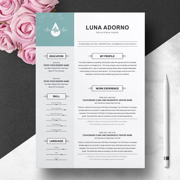 Resume Templates & Design : Resume Design Template for Nurse