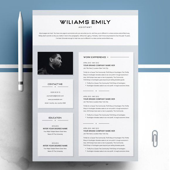 Resume Templates & Design : Resume Template 2 pages for MS ...