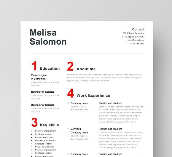 Resume Templates Design Template 4 Page