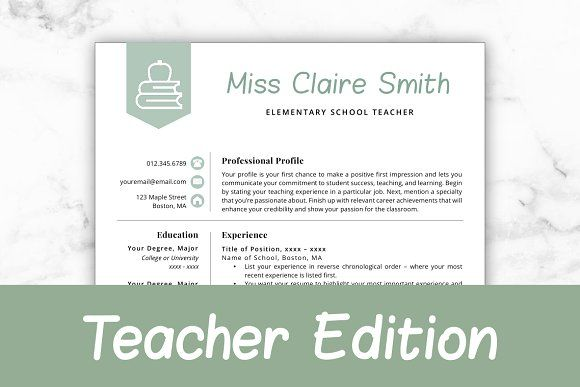 Resume Templates Design Teacher Resume Template Claire
