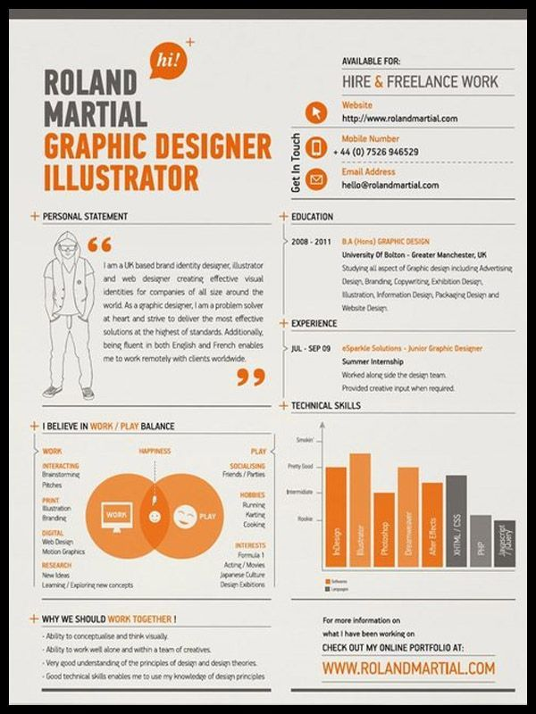 Resume Infographic Graphic Design I Like The Use Of Graphs