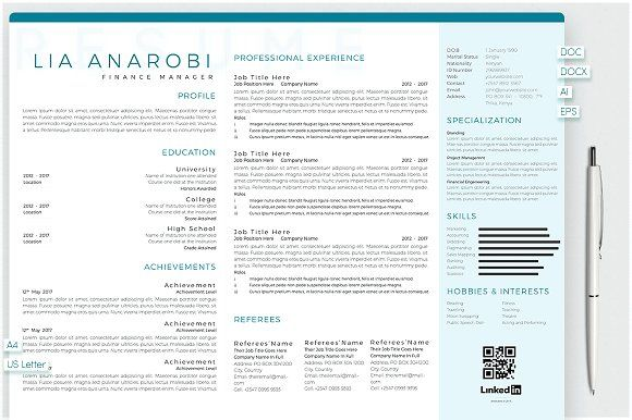 Resume Templates Design Anarobi Portrait Landscape