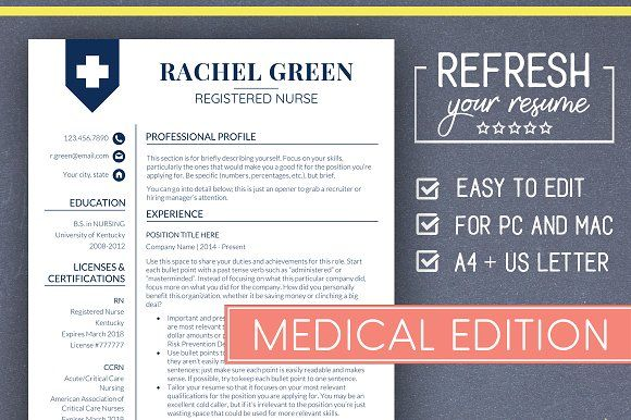 Resume Templates & Design : Medical RESUME Template Nurse ...