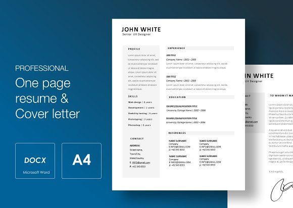Resume Templates Design One Page Resume Cv Cover