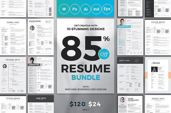 Resume Templates & Design : Top 10 Resume/CV Bundle - $120 ...