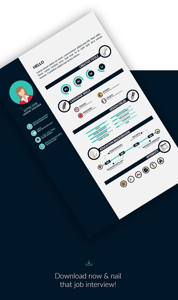 Resume Infographic Free Template For Adobe