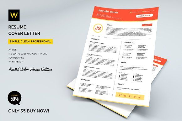 Resume Templates & Design : Resume Cover Letter (Pastel ...