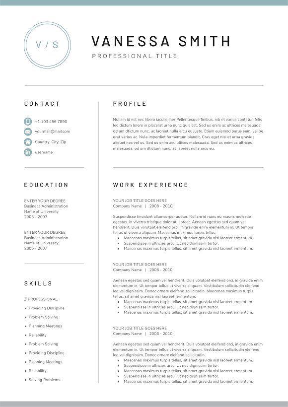 Resume Templates Design Word Resume Cover Letter