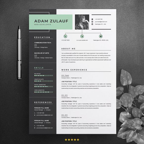 Resume Templates & Design : One Page Resume / CV Template ...