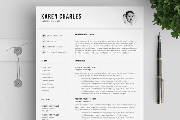Resume Templates Design Clean Template 4 Pages