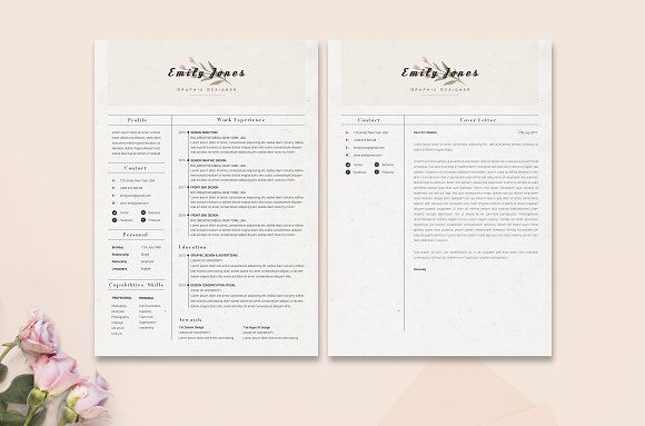 Resume Templates Design Floral CoverLetter Template C