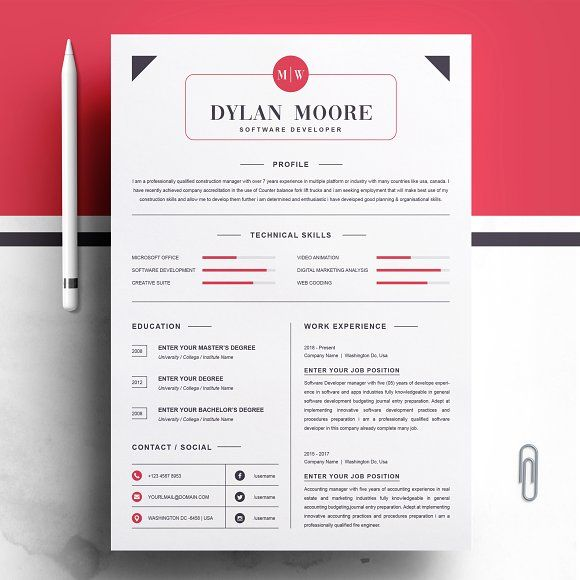 Resume Templates Design Modern And Clean Template