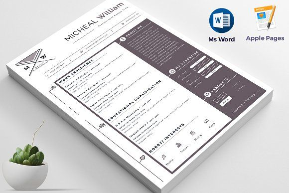 Resume Templates & Design : Resume / Cv Apple Pages & Ms ...