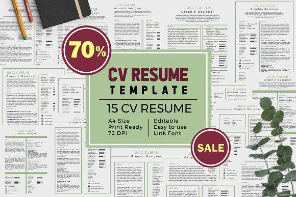 e2252ec93 15 CV-Resume Template Bundle Vol 6 by Kolega collective on Creative Market