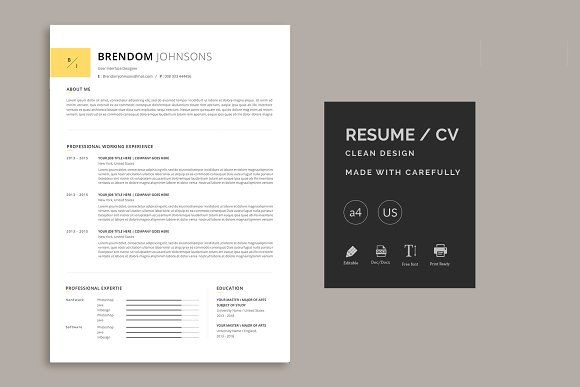 Resume Templates Design Clean Resume Template Made With A Pr