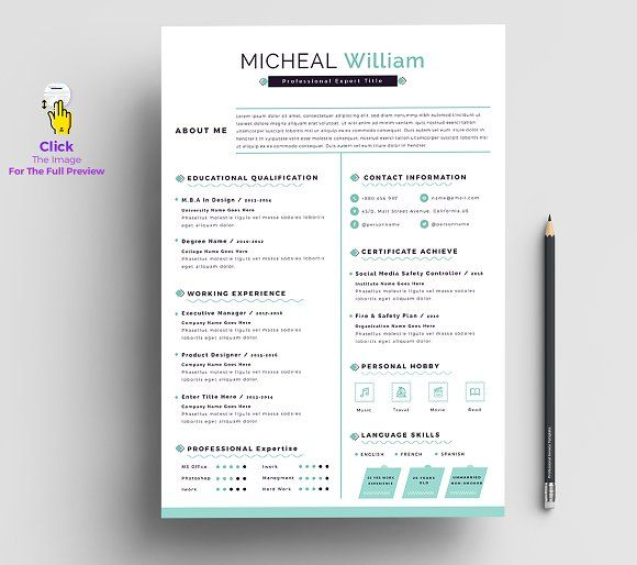Resume Templates Design Resume Cv Apple Pages Ms