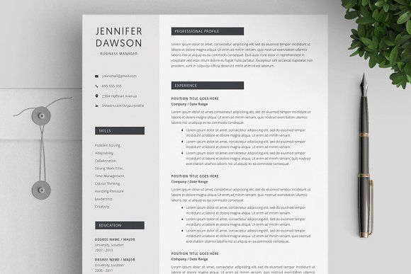 Resume Templates & Design : Resume Template Word / 4 pages ...