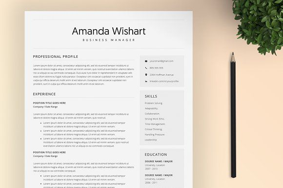 Resume Templates & Design : Resume Template Word and 4 Pages ...