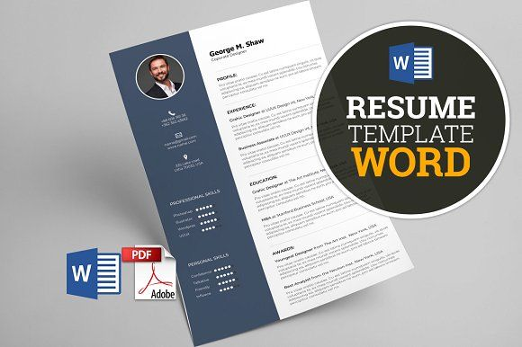 Resume Template Word By Graphicbox On Creative Market