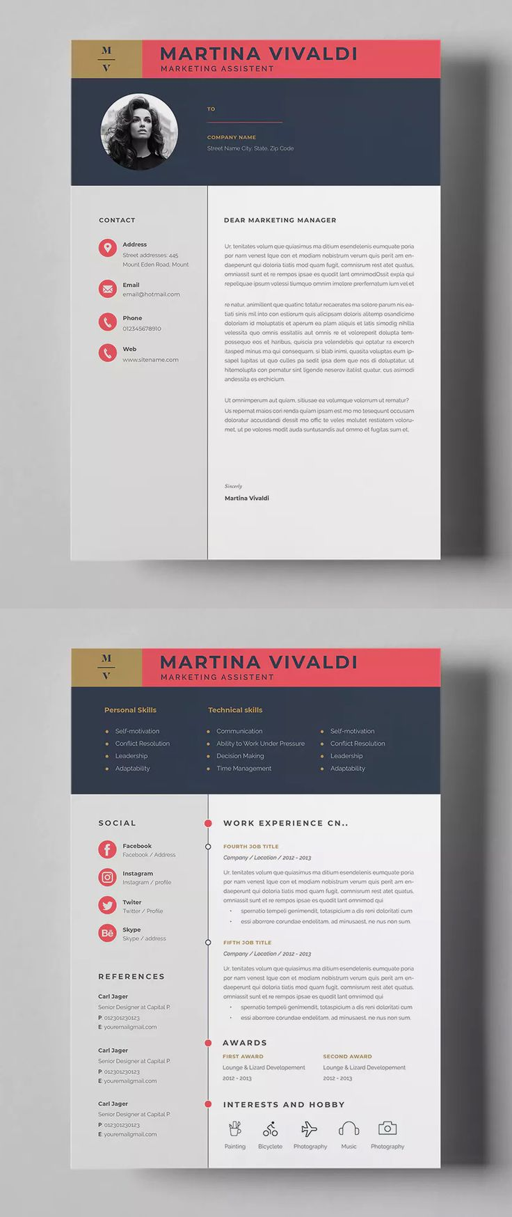 Resume Templates 2 Pages Resume Cover Letter Templates Ai Eps