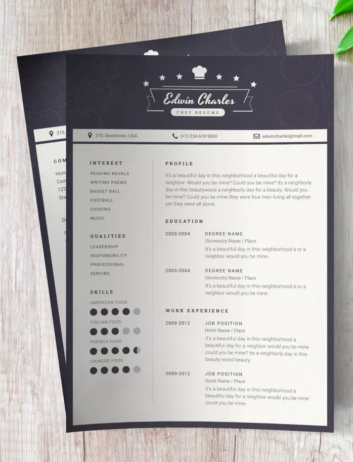 Resume Templates : Chef CV Template AI, EPS - Resumes.tn ...