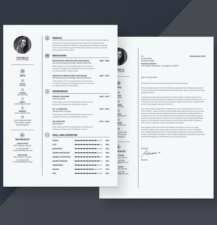 Clean Resume Cover Letter Template InDesign